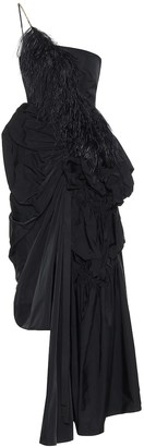 Dries Van Noten Feather-trimmed taffeta gown