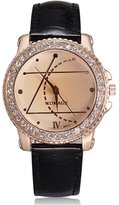 BUYEONLINE Women's Fashion Rhinestone Crystal Diamonds Pu Leather Band Casual Watch