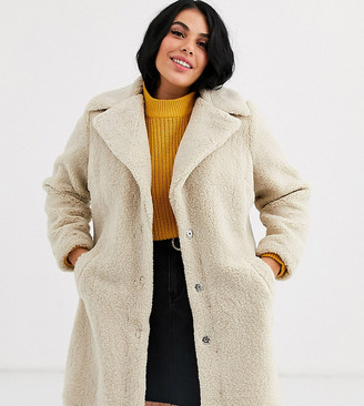 New Look Plus Curve borg coat in cream