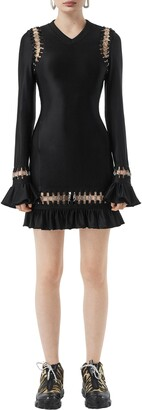 Burberry Ring Embellished Ruffle Long Sleeve Minidress