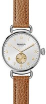 Shinola The Canfield 38mm Alligator Strap Watch, Dark Camel