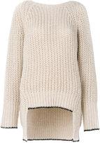 Nude ribbed v-back sweater - women - Acrylic/Polyester/Viscose/Alpaca - 42