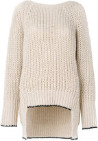Nude ribbed v-back sweater