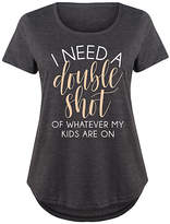 Instant Message Plus Women's Tee Shirts HEATHER - Heather Charcoal 'I Need a Double Shot' Scoop Neck Tee - Plus