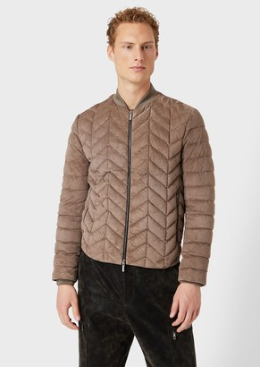 Giorgio Armani Puffer Jacket With Front Chevron Quilting