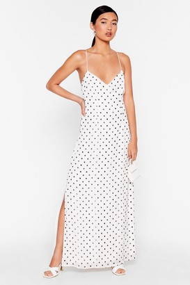 Nasty Gal Womens Nothing Can Spot Us Metallic Maxi Dress - White - 6