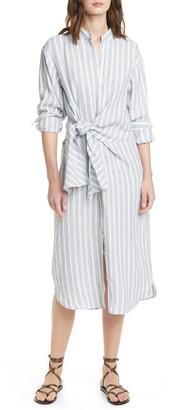 Frame Tie Waist Long Sleeve Linen Midi Shirtdress
