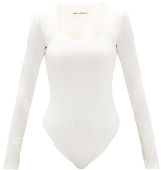 Mara Hoffman Venus Square-neck Ribbed-knit Bodysuit - White