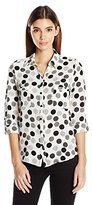Notations Women's Petite Size Long Sleeve Printed Y Neck Button Down Blouse