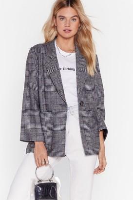 Nasty Gal Womens One Check of a Day Longline Blazer - Grey - XS, Grey