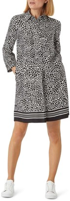 Hobbs Marci Animal Print Long Sleeve Shirtdress