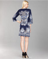INC International Concepts Dress, Bell-Sleeve Medallion-Print Shift
