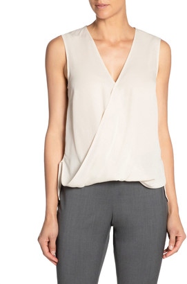 Santorelli V-Neck Sleeveless Front Overlap Silk Georgette Top
