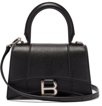 Balenciaga Hourglass Small Grained-leather Bag - Black