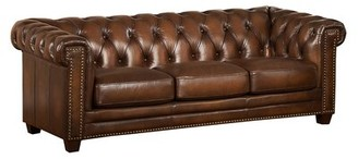 "Saffold Genuine Leather Chesterfield 88.5"" Rolled Arm Sofa Canora Grey"