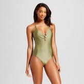 Women's Lace Up Halter One Piece - Olive Green - Fashion Union