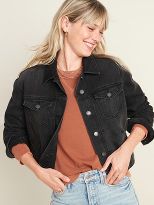 Old Navy Cropped Black Jean Jacket for Women