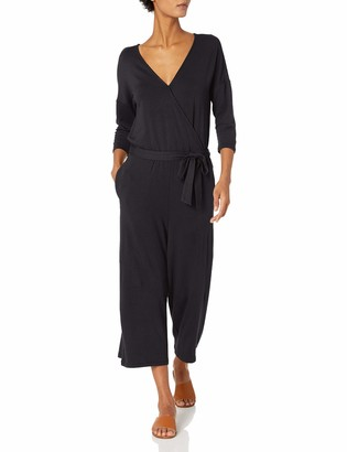 Daily Ritual Supersoft Terry Elbow-Sleeve Overlap Jumpsuit Pants