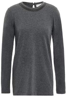 Brunello Cucinelli Bead-embellished Cotton-blend Jersey Top