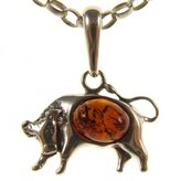 Cozmos Pendants BALTIC AMBER AND STERLING SILVER 925 DESIGNER COGNAC BULL PENDANT JEWELLERY JEWELRY (NO CHAIN)