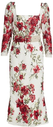 Marchesa Floral-Embroidered Puff-Sleeve Silk Cocktail Dress