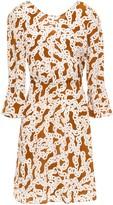 Diane von Furstenberg Fluted Printed Silk Crepe De Chine Mini Dress