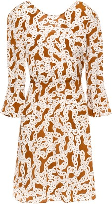 Diane von Furstenberg Fluted Printed Silk Crepe De Chine Mini Dress