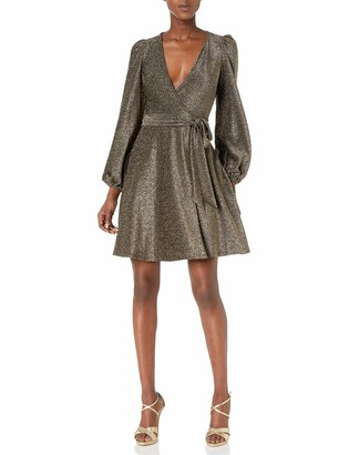 Donna Morgan Women's Glitter Knit V-Neck Ruched Dress
