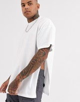 Asos Design DESIGN oversized longline t-shirt with extreme side splits in white
