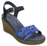 Crocs Leigh II Ankle Strap Graphic Womens Wedge Sandal