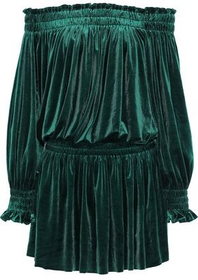Norma Kamali Peasant Off-the-shoulder Velvet Mini Dress