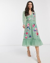 Asos Design DESIGN embroidered skater midi dress with lace trims and pephem in sage green