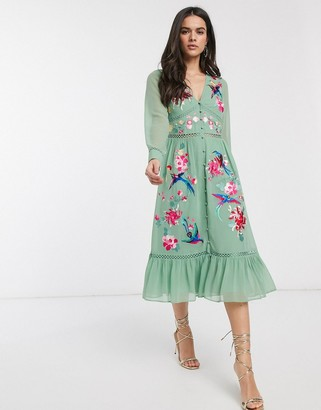 ASOS DESIGN embroidered skater midi dress with lace trims and pephem in sage green