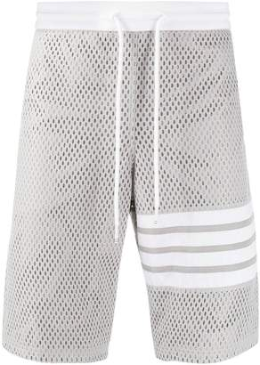 Thom Browne mesh track shorts light grey