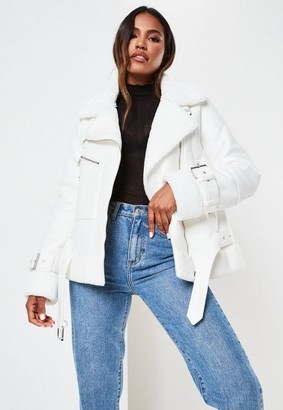Missguided Premium White Zip Detail Aviator Jacket