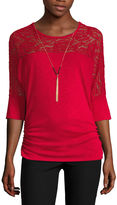 BY AND BY by&by 3/4 Sleeve Scoop Neck Knit Blouse-Juniors