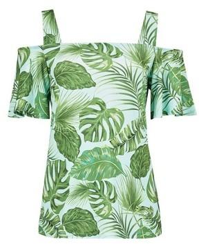 Dorothy Perkins Womens Tall Tropical Print Cold Shoulder Top