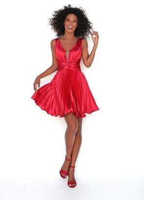 Tarik Ediz Valentina_Pleated Sleeveless Cocktail Dress