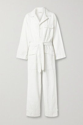 Nili Lotan Aria Belted Cotton And Linen-blend Twill Jumpsuit - White
