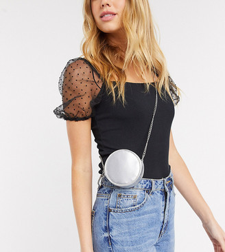 My Accessories London Exclusive circle mini cross body bag with chain strap in metallic silver