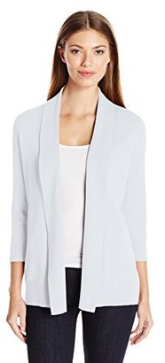 Leo & Nicole Women's Missy 3/4 Sleeve Shawl Collar Cardigan
