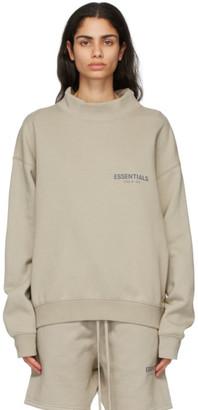 Essentials Beige Mock Neck Pullover Sweatshirt