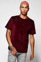 boohoo Mens Floral Embroidered Velour T-Shirt