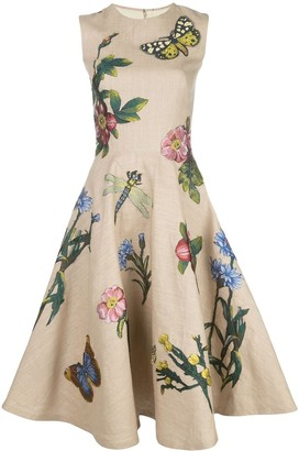 Oscar de la Renta Floral Appliqued Dress