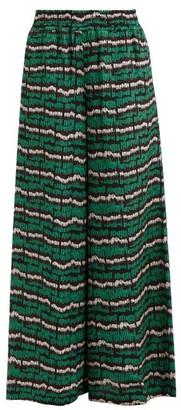 Rianna + Nina - Fioyri Graphic-print High-rise Wide-leg Trousers - Womens - Black Green