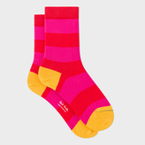 Paul Smith Women's Red And Bright Pink Stripe Socks
