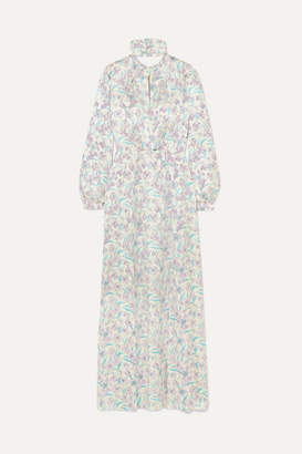 Raquel Diniz Allegra Floral-print Silk-satin Maxi Dress - Purple