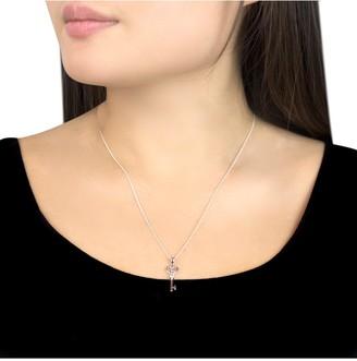 Love Diamond 9ct White Gold Diamond Set Heart Key Pendant Necklace