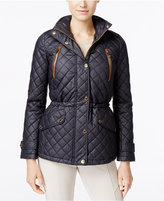 MICHAEL Michael Kors Hooded Faux-Leather-Trim Quilted Anorak Jacket