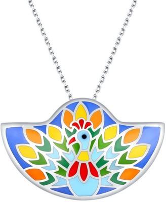 Vedantti .925 Sterling Silver Madhubani Art Peacock Dance Multi Color Enamel Necklace